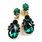 Mon Cheri Earrings Clips ~ Emerald