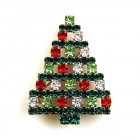 Xmas Tree Brooch #13 ~ Emerald with Colors