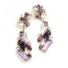 Ffion Earrings Pierced ~ Violet and Clear Crystal