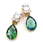 Effervescence Earrings with Clips ~ Silver Emerald Clear Crystal