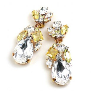 Fountain Clips-on Earrings ~ Jonquil Tones with Clear Crystal