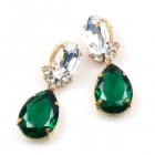 Effervescence Earrings for Pierced Ears ~ Emerald Clear Crystal