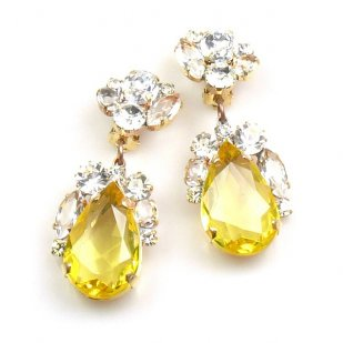 Fountain Clips-on Earrings ~ Clear Crystal Yellow