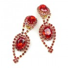 Moonglow Earrings with Clips ~ Ruby Red