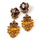 Aztec Sun Earrings Pierced ~ Amber and Dark Topaz