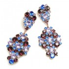 Enigma Earrings for Pierced Ears ~ Purple Blue