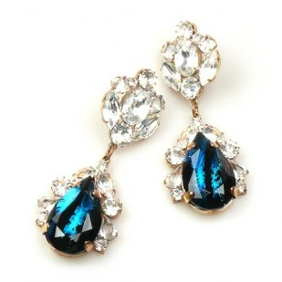 Fountain Earrings Pierced ~ Crystal Black Aqua