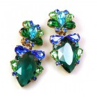 Floralie Earrings with Clips ~ Emerald with Blue