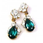Fountain Clips-on Earrings ~ Clear Silver Emerald
