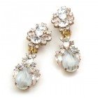 Timeless Clips on Earrings ~ Crystal with Silver White