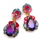 Iris Earrings Clips-on ~ Violet Red Fuchsia