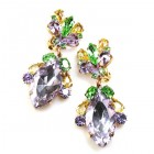 Floralie Earrings Pierced ~ Violet Green Yellow