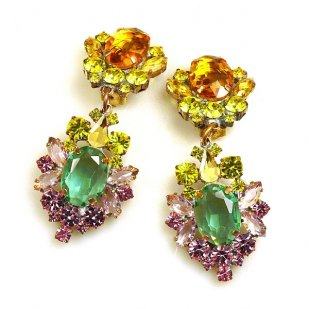 Aztec Sun Earrings Clips ~ Yellow Green Pink