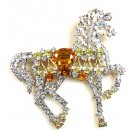 Liberty Horse Brooch ~ White with Topaz