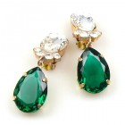 Effervescence Earrings with Clips ~ Emerald Clear Crystal