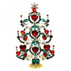 2020 Xmas Tree Decoration 17cm Hearts ~ Red Clear Emerald