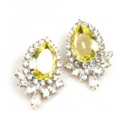Paris Charm Pierced Earrings ~ Crystal with Yellow Jonquil