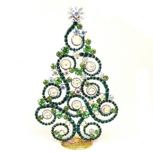 2019 Xmas Tree Stand-up Decoration 16cm Waves and Rondelles