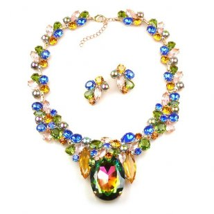 Elipse Necklace Set with Earrings ~ Vitrail Multicolor