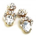 Fiore Clips Earrings ~ Clear Crystal