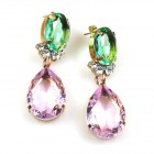 Effervescence Earrings for Pierced Ears ~ Pink Green