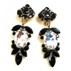 Iris Grande Clips Earrings ~ Clear Black