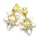 Xantypa Earrings Clips ~ Clear Crystal with Yellow
