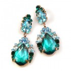 Iris Earrings Pierced ~ Extra Aqua Emerald