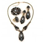 Lady Cameo Parure Set with Ring and Brooch ~ Anthracite Cameo