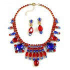 Cleopatra Necklace with Earrings ~ Red and Blue
