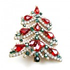 Xmas Tree Brooch #01 ~ Red Emerald Clear