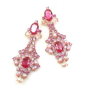 Sparkling Moments Earrings Pierced ~ Pink and Fuchsia