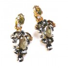 Raquel Earrings Clips ~ Smoke Crystal
