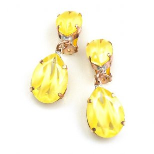 Raindrops Earrings Clips ~ Opaque Silver Yellow