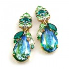 Fountain Clips-on Earrings ~ Green Tones with Silver Emerald