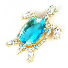 Turtle Brooch ~ Aqua with Clear Crystal