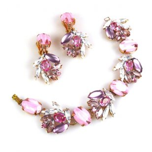 Close to Heaven Bracelet with Earrings ~ Pink Tones