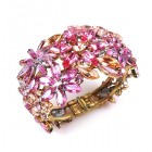 True Love ~ Clamper Bracelet with Flowers ~ Pink