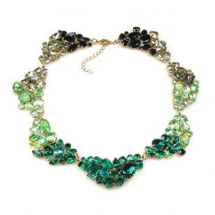 Yvette Necklace Choker ~ Emerald Green Grey Black