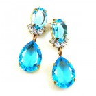 Effervescence Earrings for Pierced Ears ~ Aqua