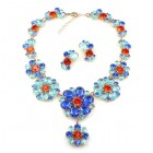 Eden Holiday Necklace with Earrings ~ Aqua Blue
