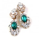 Crystal Gate Clips-on Earrings ~ Silver Emerald