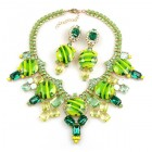 Taj Mahal Necklace Set with Earrings ~ Extra Lime Green