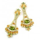 Autumn Splendour Earrings Pierced ~ Olive Green Yellow Topaz