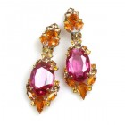 Mythique Clips-on Earrings ~ Topaz with Fuchsia