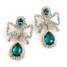 Bows Earrings Clips ~ Emerald