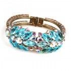 Spike Clamper Bracelet ~ Aqua with AB