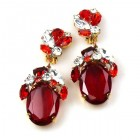 Fiore Clips Earrings ~ Red with Clear Crystal