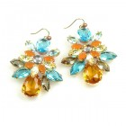 Susanne Multicolor Pierced Earings ~ Topaz Aqua Yellow