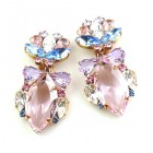 Floralie Earrings with Clips ~ Pink with Blue and Clear
